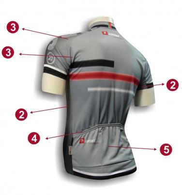 Camisola Ciclismo X3 Descrição - Trás